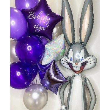 Воздушные шарики для мальчика в фиолетовых оттенках с багзом бани