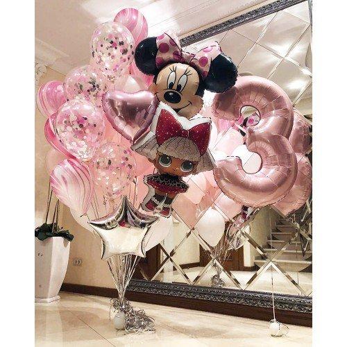 Украшение воздушными шарами для девочки на 3 года с куклой