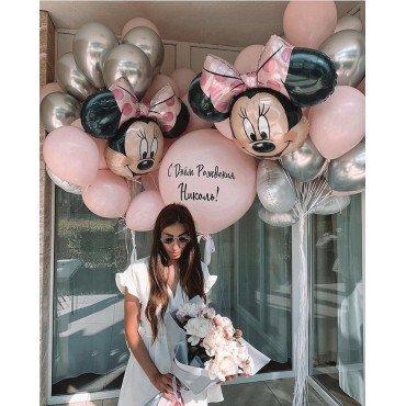 Композиция из шаров для девушки с розовым гигантом и минни маус