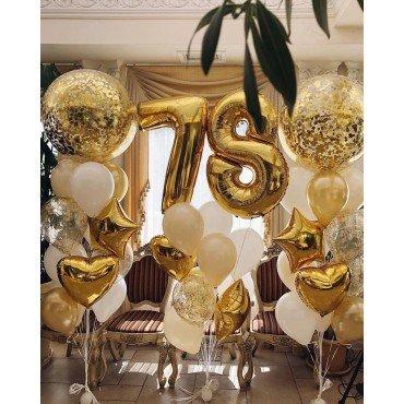 Украшение шариками с конфетти в золотом цвете на День Рождения