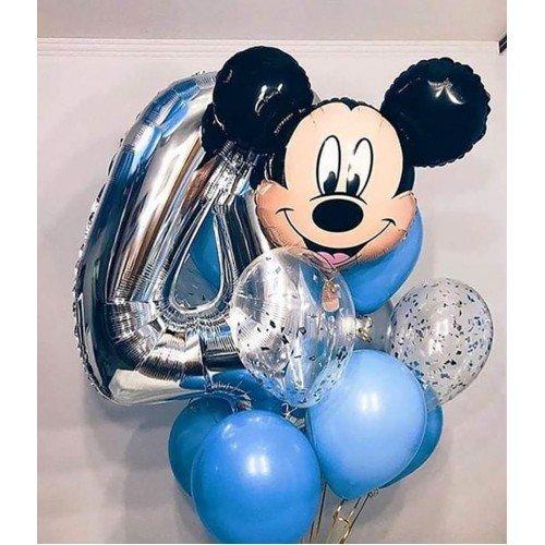 Воздушные шарики для мальчика на 4 года с цифрой и Мики Маусом