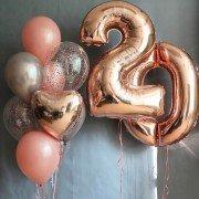 Шарики на юбилей девушке 20 лет в розовом золоте