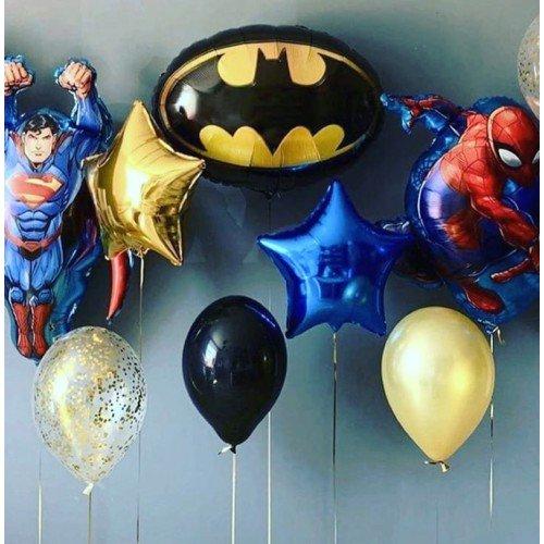 Украшение шарами в стиле супер героев со звёздами