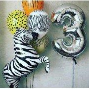 Облако шаров с зеброй на 3 года