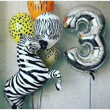 Облако шаров на 3 годика в стиле сафари с зеброй