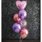 Фонтан из шаров с розовым сердцем с надписью