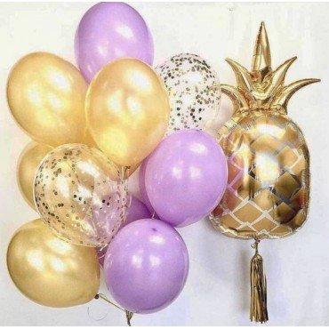 Облако шаров в сиренево золотых цветах с ананасом