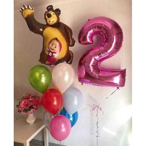 Воздушные шары в стиле маши и медведя на 2 годика