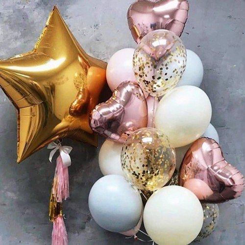 Букет из шариков с сердцами розовое золото и золотая звезда