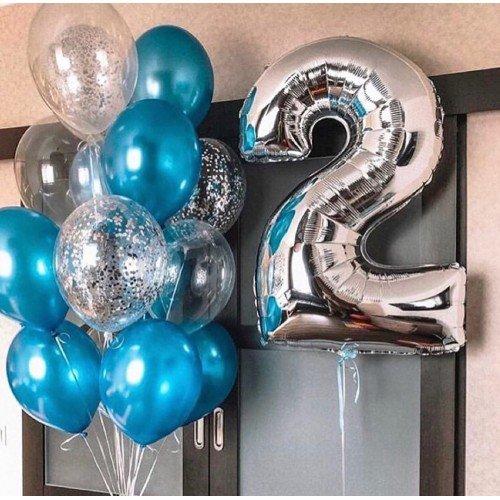 Облако из шаров для мальчика в синих цветах с цифрой
