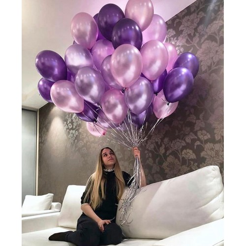 Воздушные шары металлик фиолетовых и сиреневых оттенков для девушки