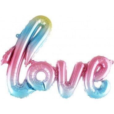 Фольгированный шарик надпись love нежно радужный