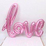 """Фольгированный шар надпись """"Love"""" розового цвета"""
