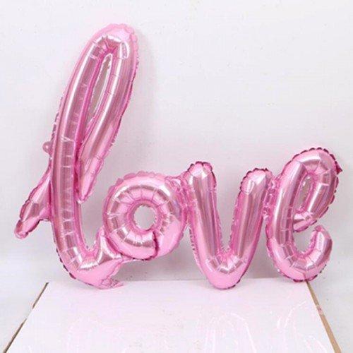 Фольгированный шарик с воздухом love розовый