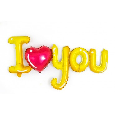 Фольгированный шарик надпись i love you с красным сердечком