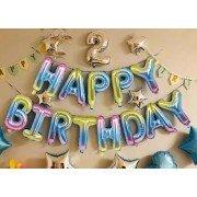 """Набор фольгированных воздушных шаров в виде букв """"Happy birthday"""" нежная радуга"""