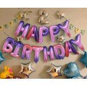 """Набор фольгированных воздушных шаров в виде букв """"Happy birthday"""" розовый градиент"""