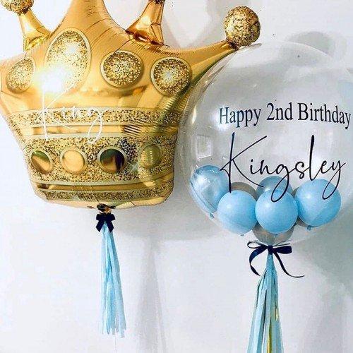 bubble с шарами внутри и золотая корона с надписью