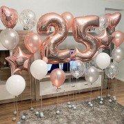 Шарики для девушки на 25 лет в розовом золоте