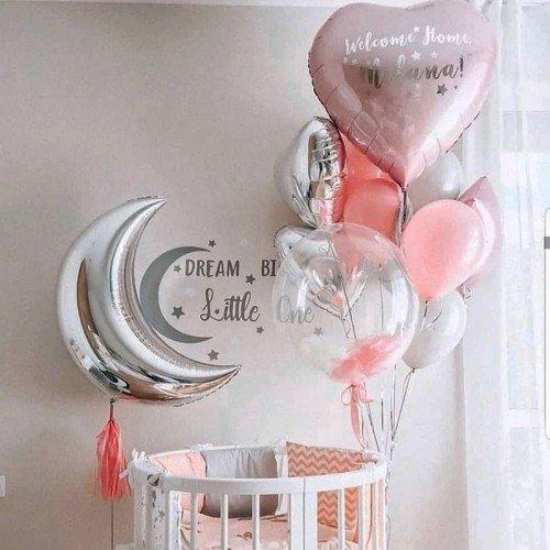 Шарики на выписку для девочки с месяцем и сердцем