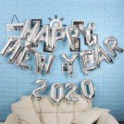 """Надпись из шаров на новый год """"Happy New Year"""" серебро"""