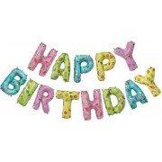 """Набор фольгированных воздушных шаров в виде букв """"Happy birthday"""" с детскими рисунками"""