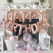 """Набор фольгированных воздушных шаров в виде букв """"Happy birthday"""" розовое золото"""