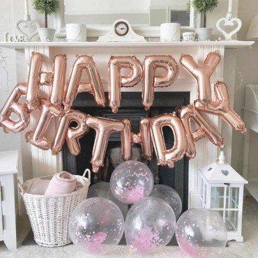Фольгированные шарики в форме букв Happy Birthday в цвете розовое золото