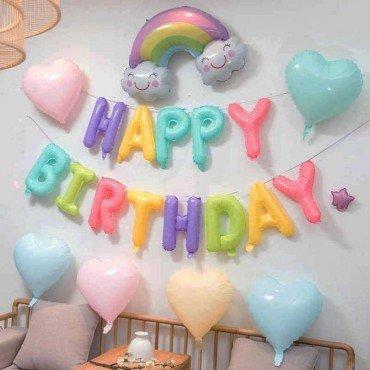 Фольгированные шарики в форме букв Happy Birthday разноцветные