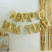 """Надпись из шаров на новый год """"Happy New Year"""" золото"""