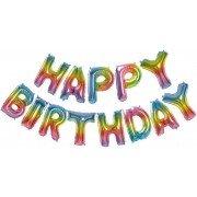 """Набор фольгированных воздушных шаров в виде букв """"Happy birthday"""" радужный градиент"""