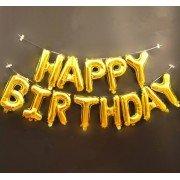 """Набор фольгированных воздушных шаров в виде букв """"Happy birthday,Золото"""""""