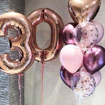 Шарики для девушки на день рождения 30 лет с цифрами