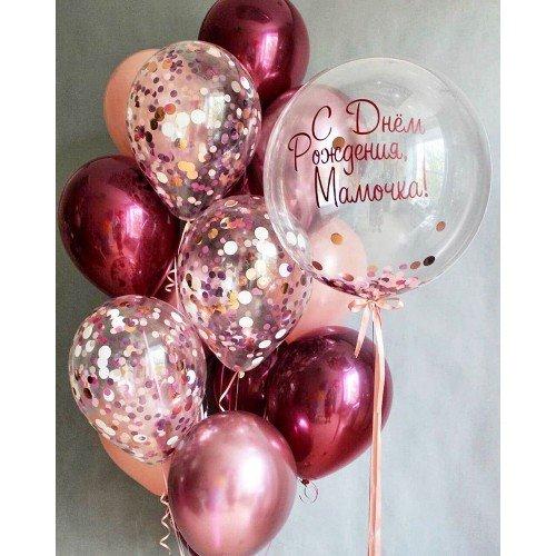 Воздушные шарики для мамы в розовом цвете с баблс