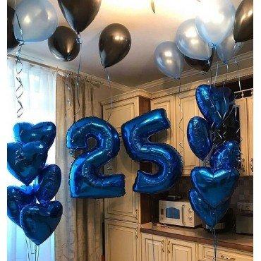 Украшение шарами на День Рождения мужчины 25 лет в синих оттенках