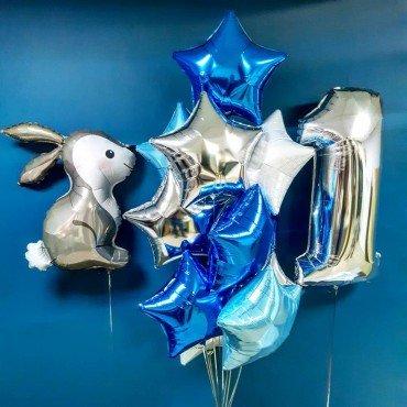 Воздушные шары на годовасие с зайчиком