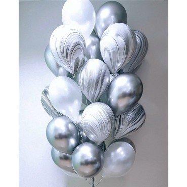 Шарики хром серебряные с агатами и белым металлик