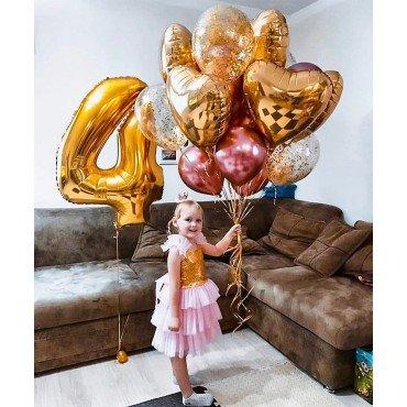 Воздушные шары для девочки с розовым хромом и золотом