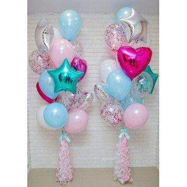 Фонтан из шариков нежных цветов с конфетти и тассел