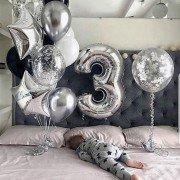 Шарики для мальчика на 3 годика в серебряном стиле