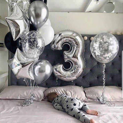 Воздушные шарики на 3 годика для сына с цифрой и гигантом