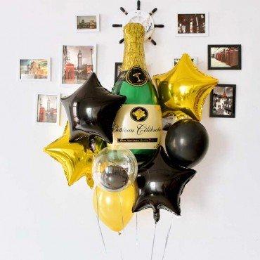 Воздушные шарики для мужчины в чёрно золотом цвете с бутылкой шампанского