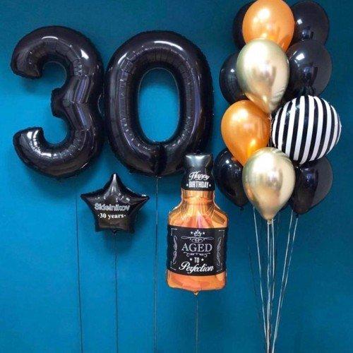 Украшение шарами на день рождения мужчины 30 лет с виски