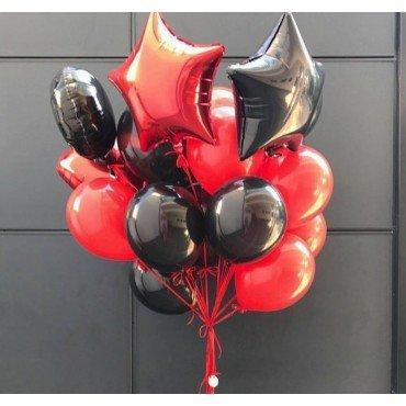 Воздушные шарики для мужчины со звёздами и сердцами в красном и чёрном цвете