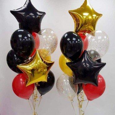 Воздушные шарики для мужчины с золотыми и чёрными звёздами