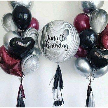 Украшение шарами на день рождение для мужчины с большим агатом с надписью