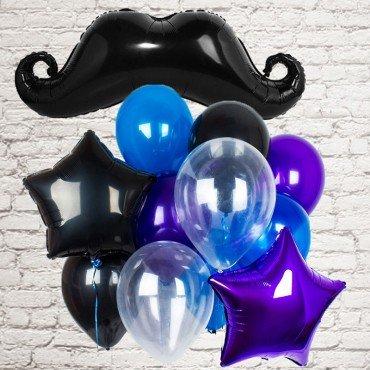 Воздушные шарики для мужчины в синем и фиолетовом цвете с усами
