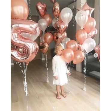 Украшение воздушными шарами на День Рождения девочки в розовом золоте