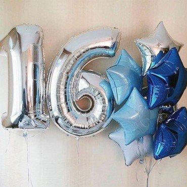Воздушные шарики для мальчика на 16 лет со звёздами