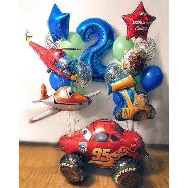 Воздушные шарики для сына на 2 года с техникой и тачкой